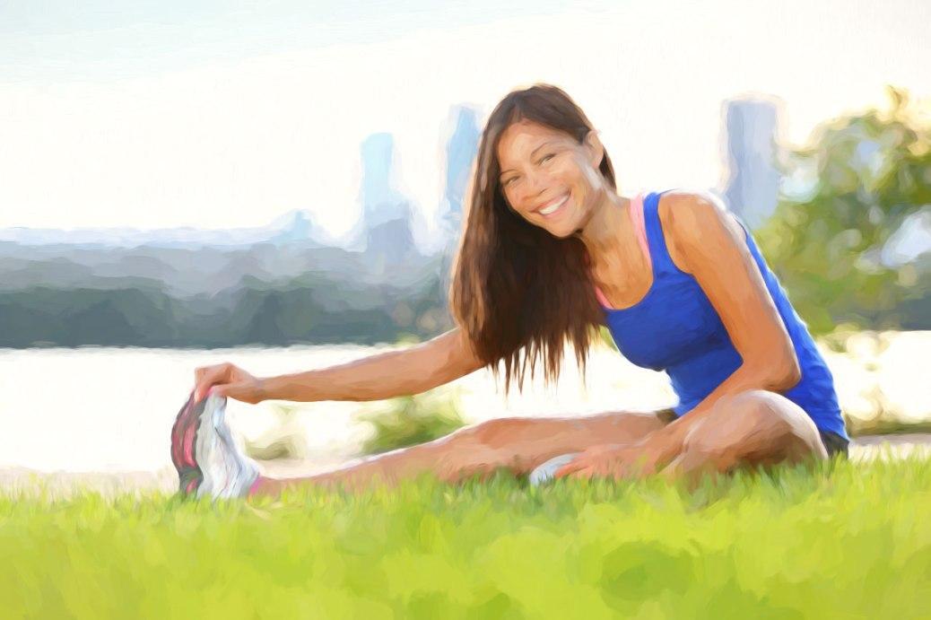 fitnessgirlstretchingparkoilpaintingi